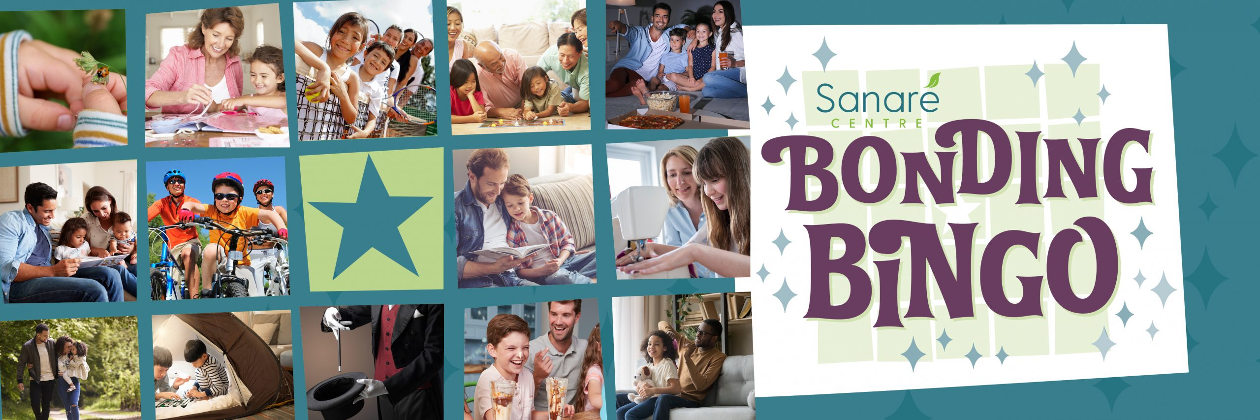 Bonding Bingo Header with photos of family activities